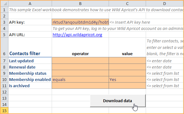 sample api applications wild apricot help