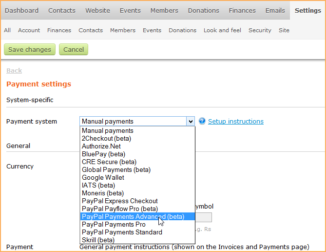 paypal payments advanced wild apricot help