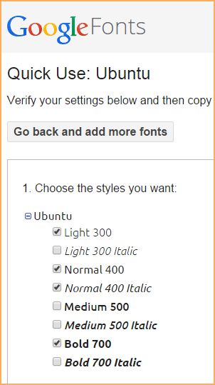 On The Screen That Appears Click Checkbox For Each Font Weight And Style You Want To Add In Example Below We Have Chosen Light Normal
