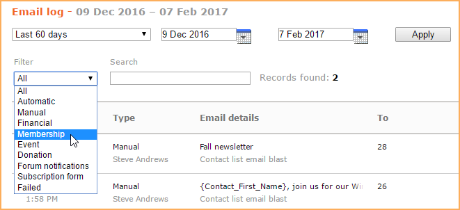 Email log - Wild Apricot Help