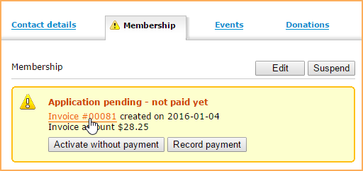 Activating And Approving Memberships Wild Apricot Help - Invoice to go contact number