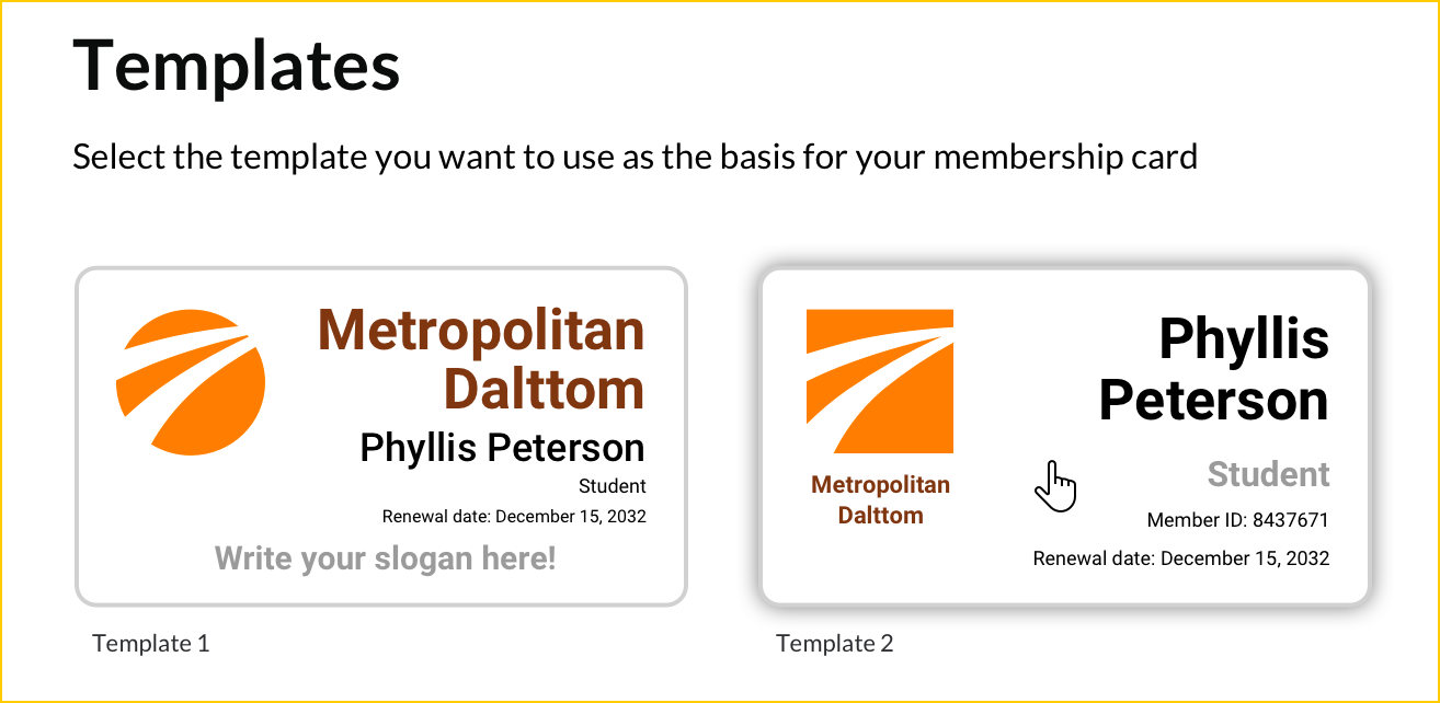 Click The Template You Want To Use As The Basis For Your Membership Card.  Membership Card Template
