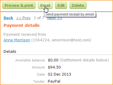 emailing and printing receipts wild apricot help