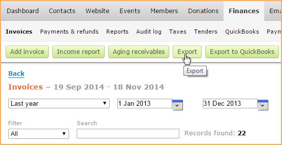 Invoices List Wild Apricot Help - Quickbooks invoice list report