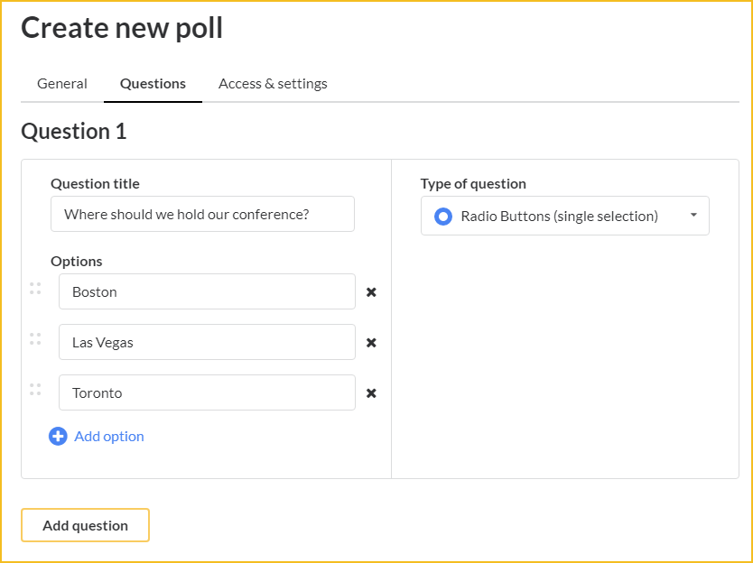 adding questions to your poll
