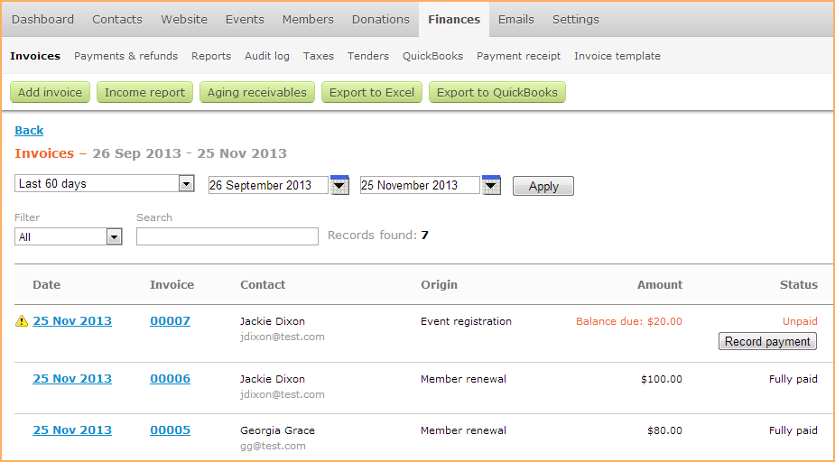 invoices list wild apricot help
