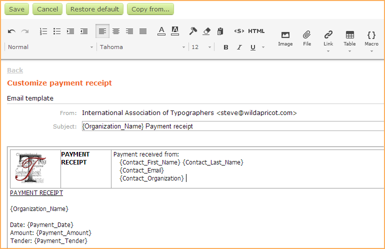 Charming Customizing The Payment Receipt Template  E Receipts Template