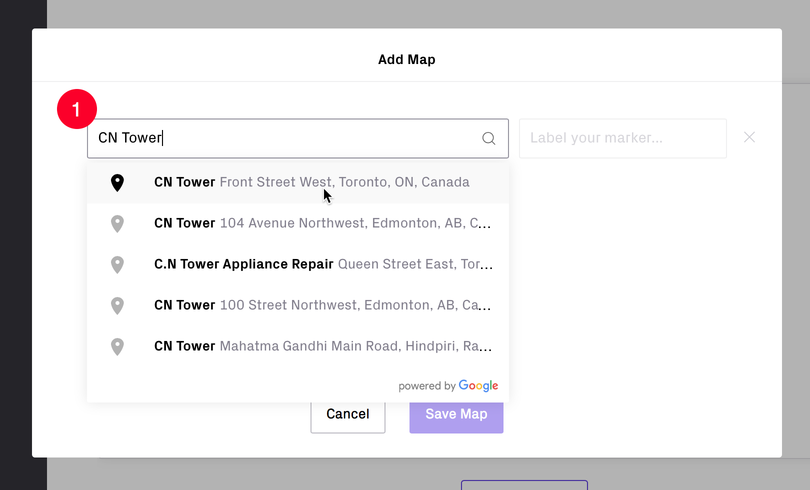 As you start to enter the address, an auto-complete option will appear