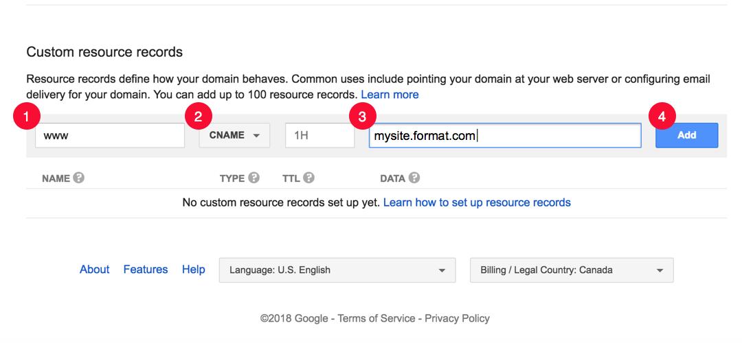 Google Domain adding custom CNAME record