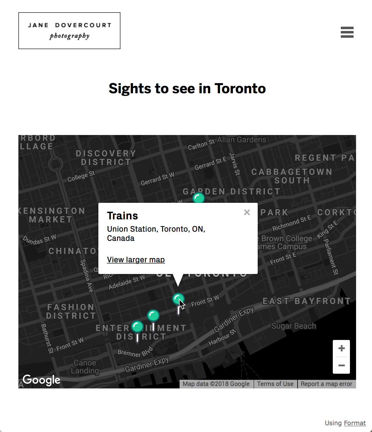 Viewing map on live site, tap a pin for more details