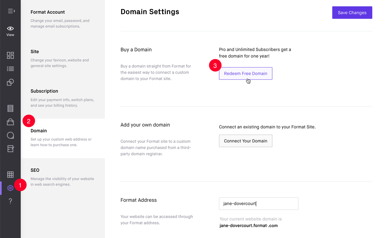Domain panel in Site Settings window for redeeming a free custom domain name