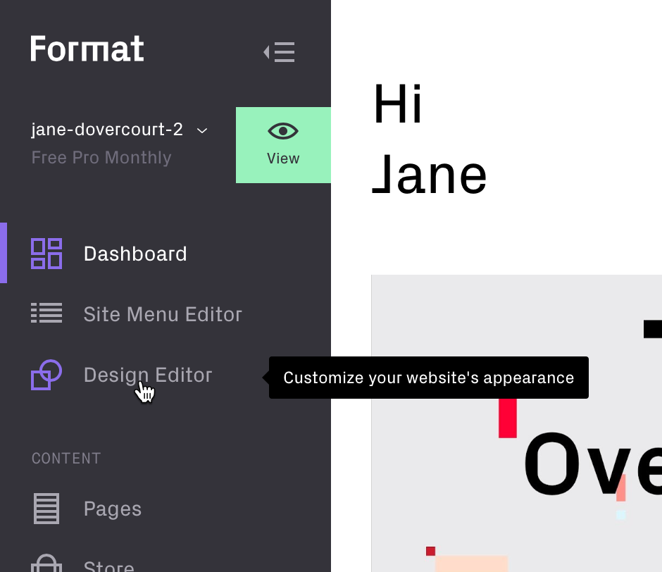 accessing the Design Editor from the dashboard sidebar
