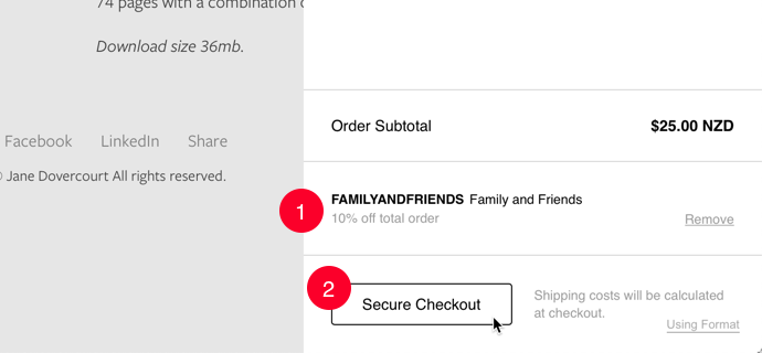 Lower portion of Shopping Cart showing that the discount code has been applied successfully