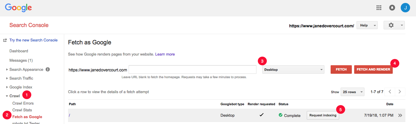 Google Search Console with Fetch as Google tool for indexing site