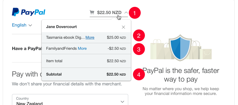 PayPal Checkout screen showing the discount has been applied to the product price.