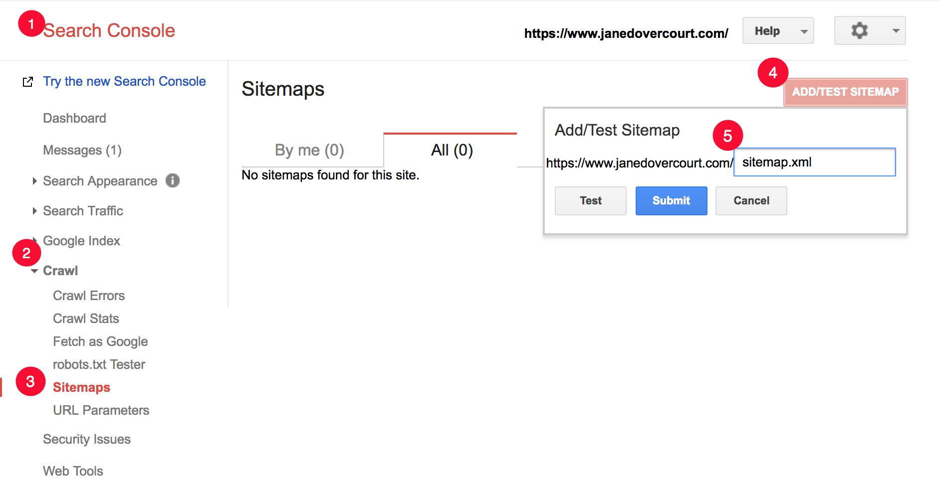 Google Search Console submit a sitemap.xml file for indexing