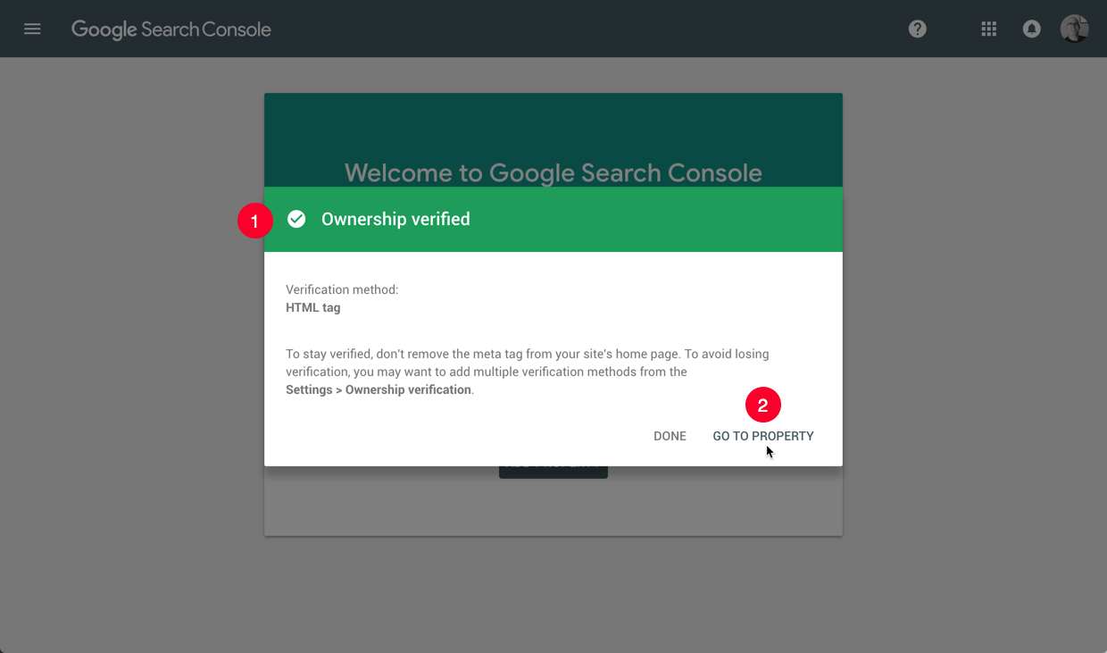 Google Search Console site ownership verified