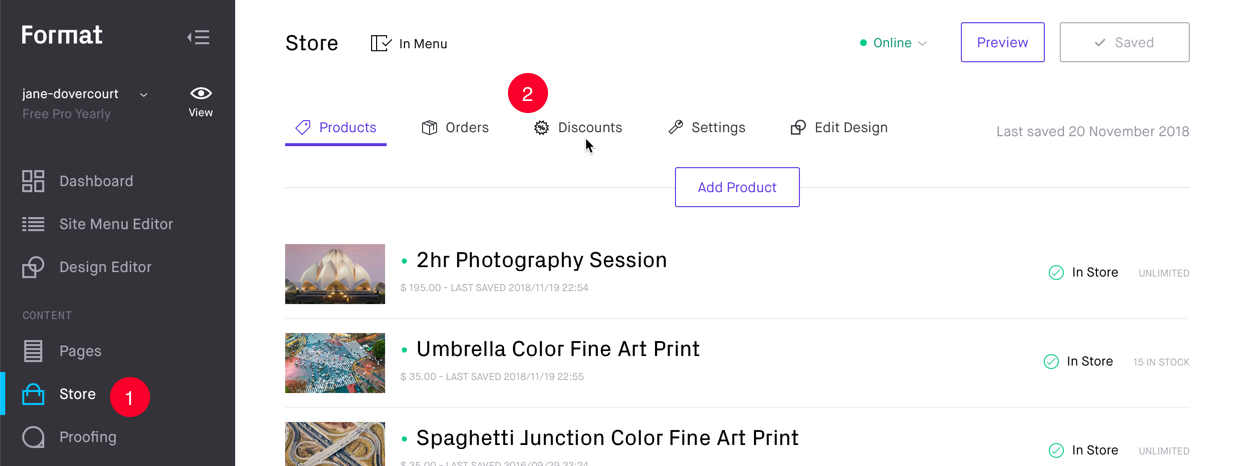 Store Products listing panel with link to Discounts panel