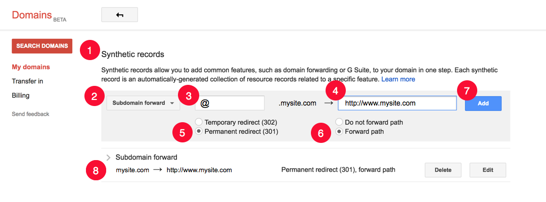 Synthetic records for setting the root domain to the www subdomain url