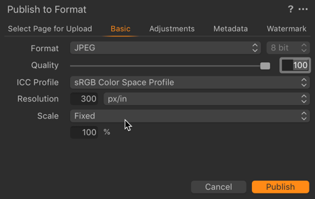 Basic Settings for images being published to Proofing Projects