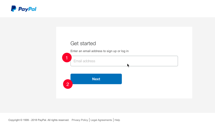 PayPal login or sign up window