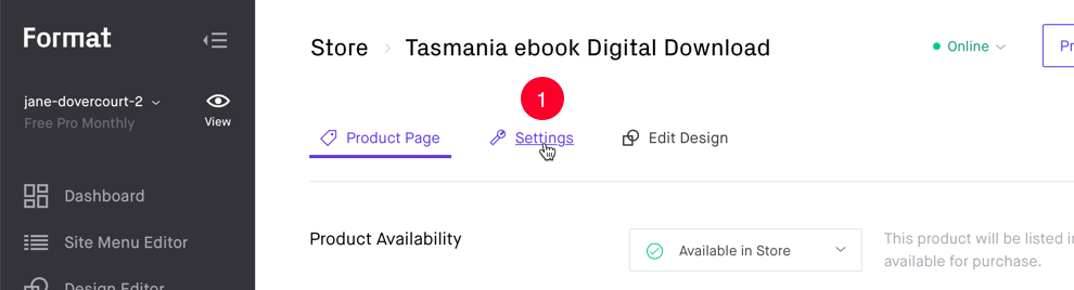 Link to change to Settings panel for Digital Product