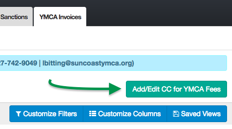 YMCA Invoices tab, Add/Edit CC for YMCA Fees button