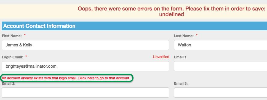 SwimOffice email already exists error