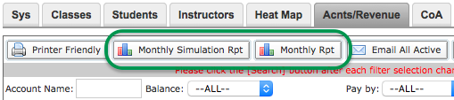 Monthly Simulation Rpt and Monthly Rpt buttons