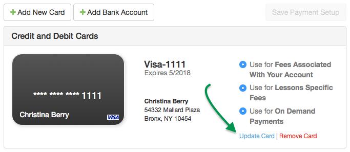 Payment Setup credit cards