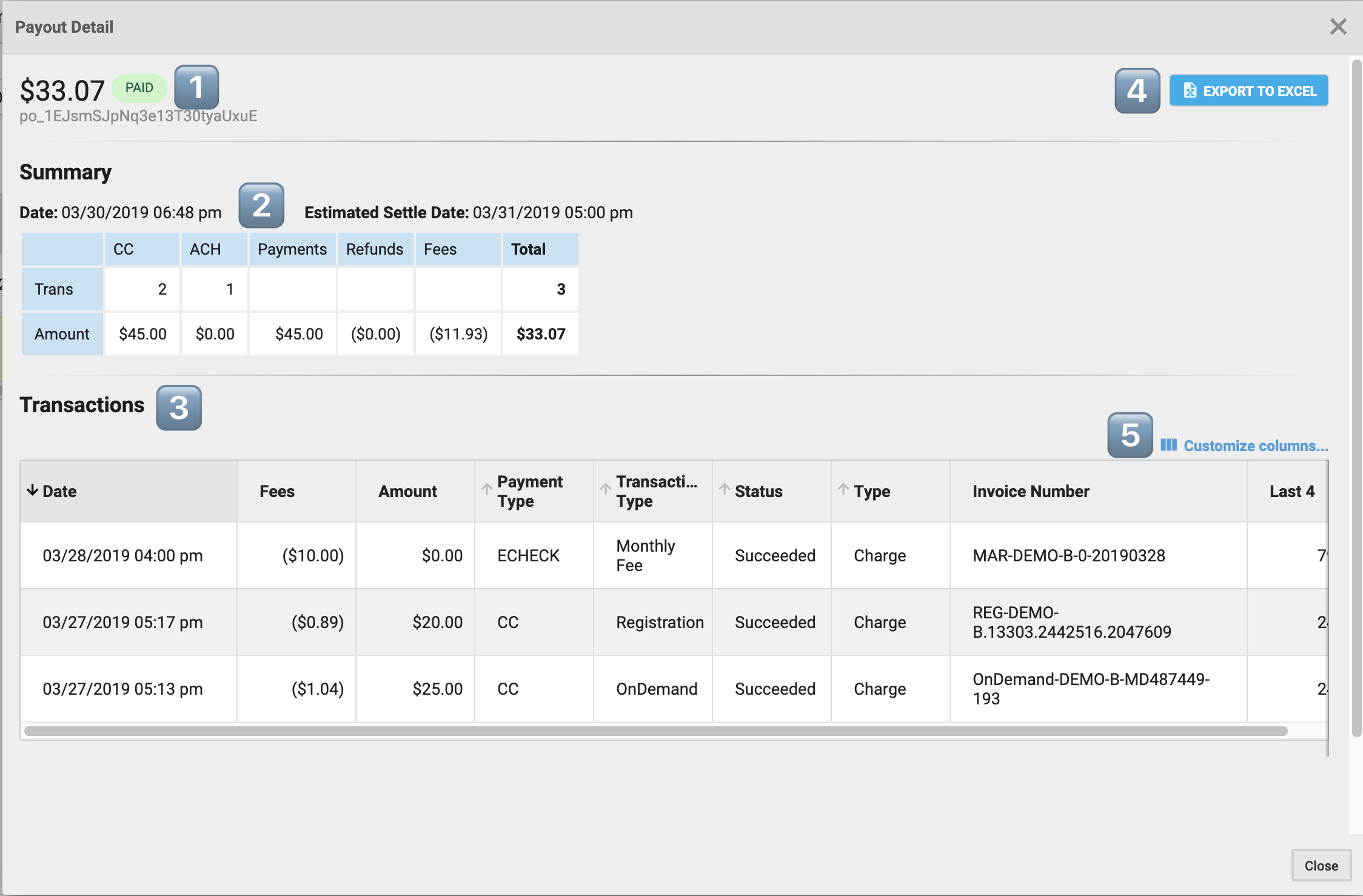 Payment Detail screen