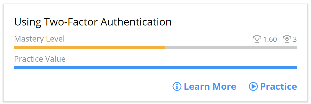 Concept card in the learner app. The Concept is called Using Two-Factor Authentication.