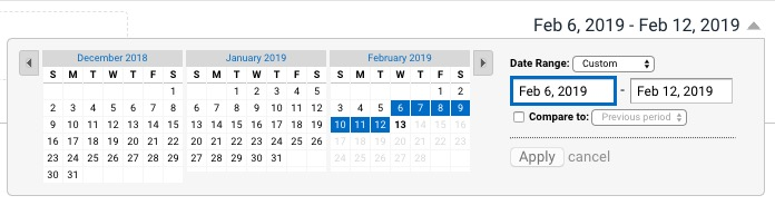 Google Analytics Date Selector