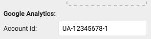 Google Analytics Account Id field