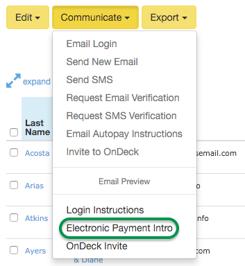 Electronic Payment Intro selection in Communicate menu
