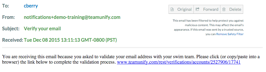 Email with link to verify email address