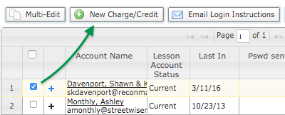 Account selection for new charge