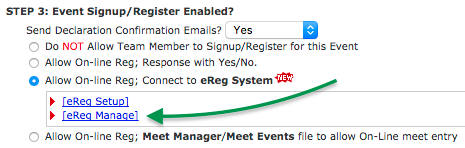 Step 3 of Event Reg with Setup and Manage links