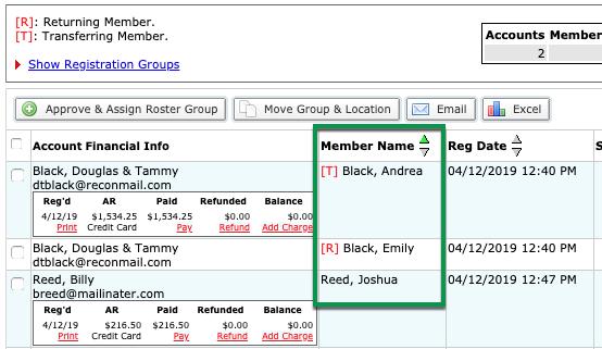 Member Name column in manage registration