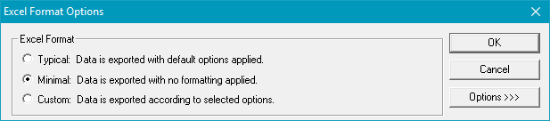 Excel Format Options