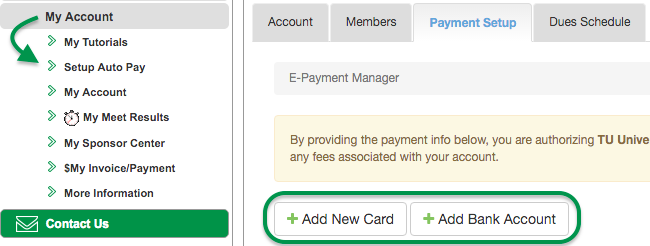Setup Auto Pay screen