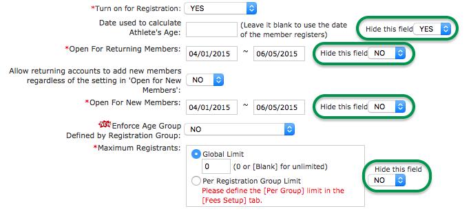 Hide fields and dates in SwimOffice registration