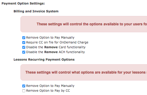 Payment Option Settings