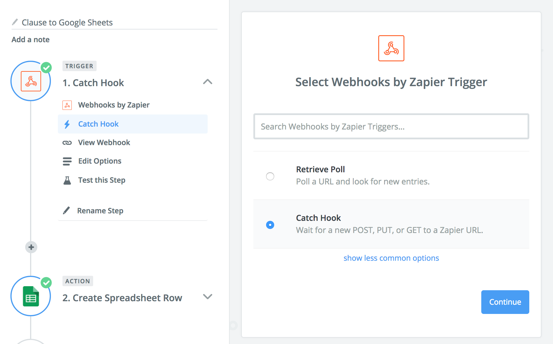 webhook setup on zapier