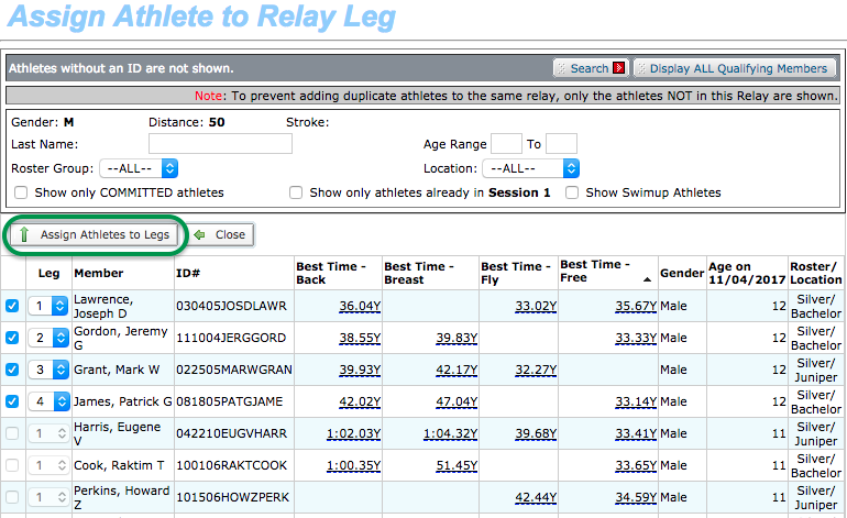 Assign Athlete to Relay Leg